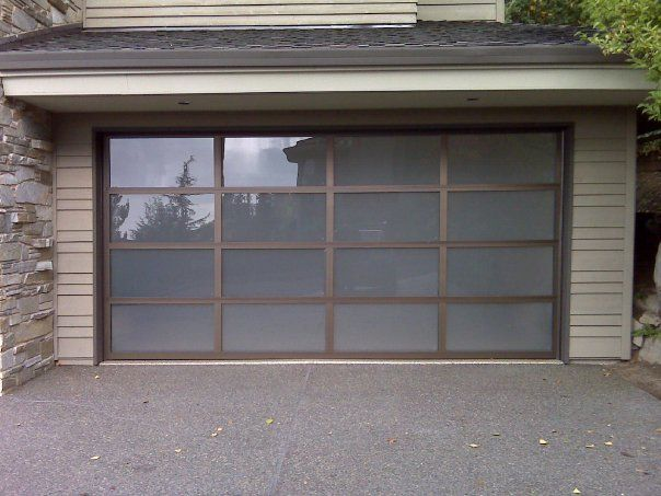Clopay Avante Collection Glass And Aluminum Garage Door With Bronze Frame  And Opaque Glass