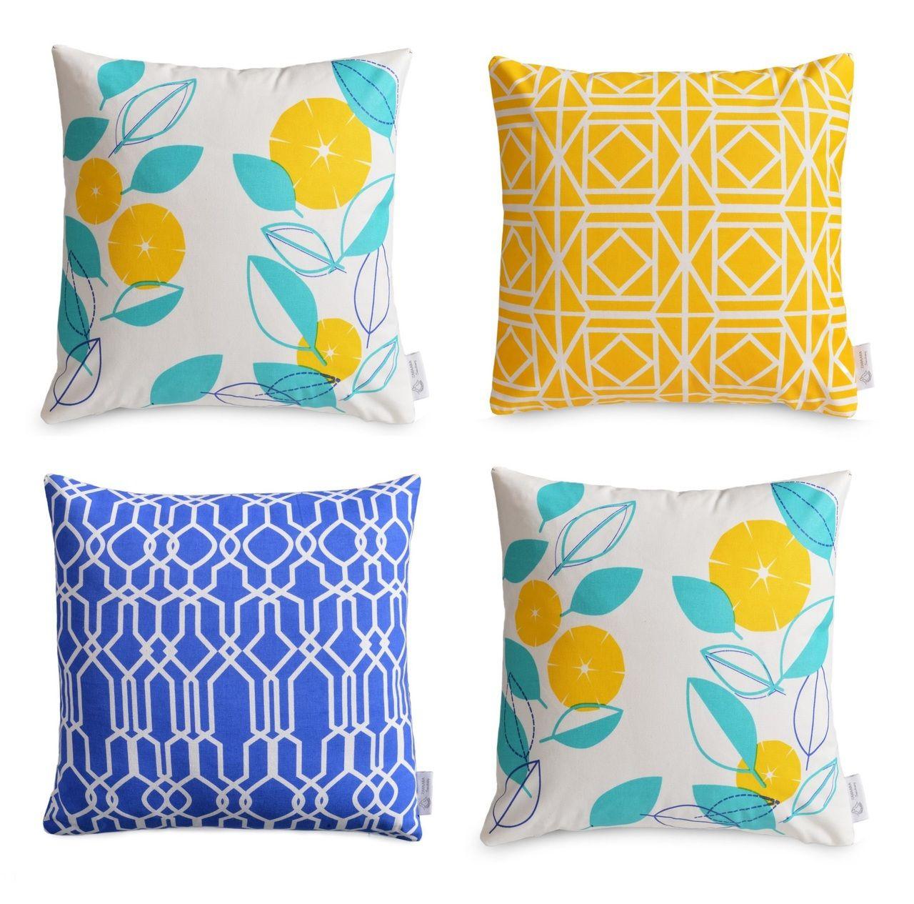 4 X Geometric/Floral WATERPROOF OUTDOOR Cushion Covers   Greek Blue,  Yellow, Aqua