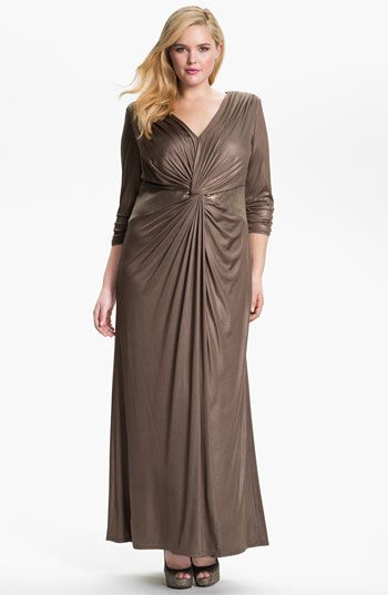 59097e96bd495 Tadashi Shoji Twist Front Long Sleeve Dress. Find this Pin and more on  Gotta Have It by The Curvy Fashionista. Tags. Plus Size Formal