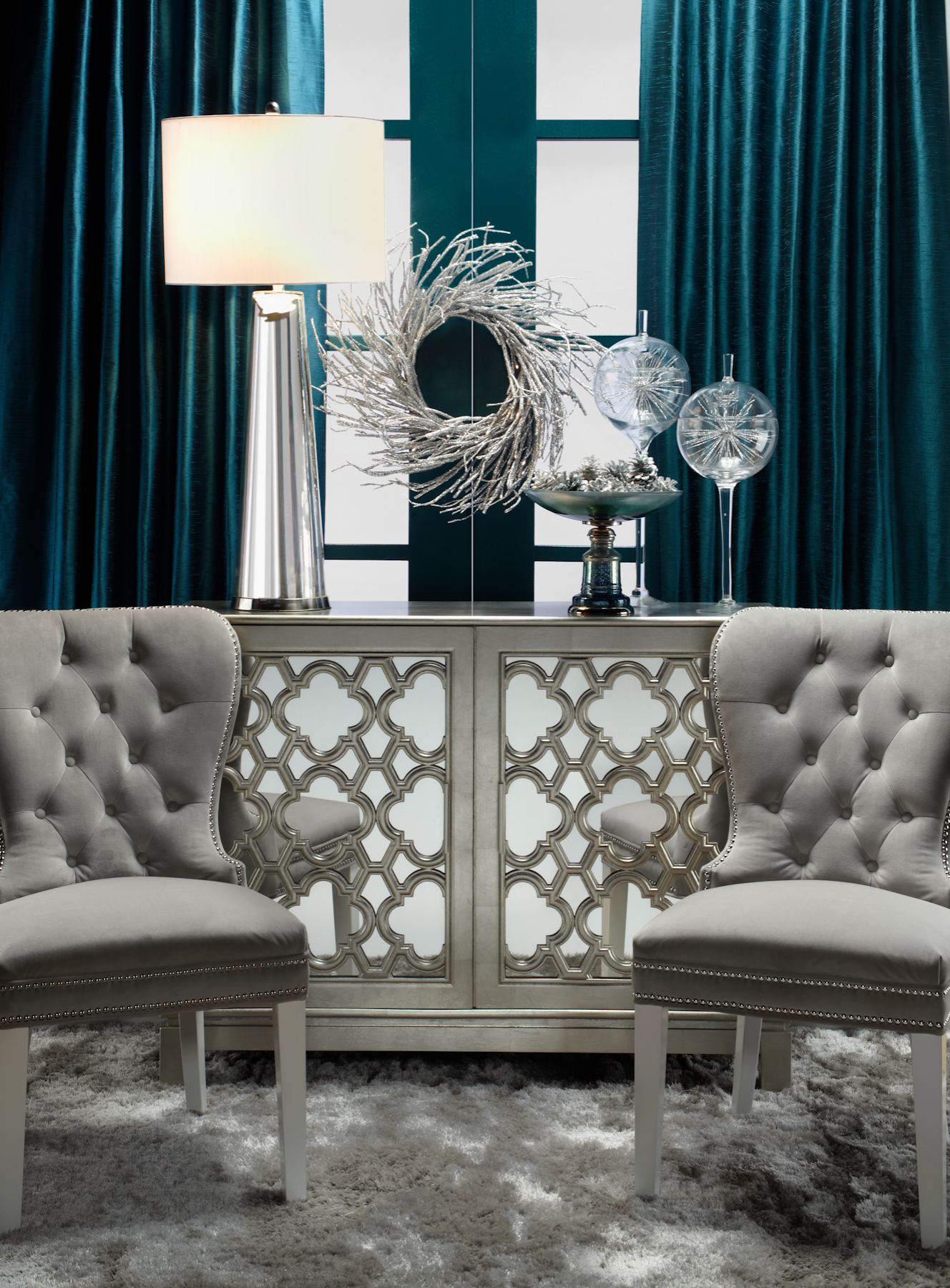 A chic space for conversation z gallerie holiday for Living room conversations
