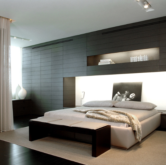 Modern Minimalist Bedroom Design: Mizner Park Boca Residence