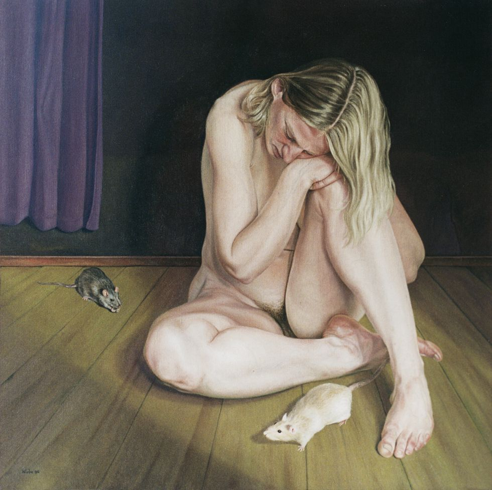 Vrouw met ratten / Woman with rats, 70 x 70 cm, oil on canvas, 1996.