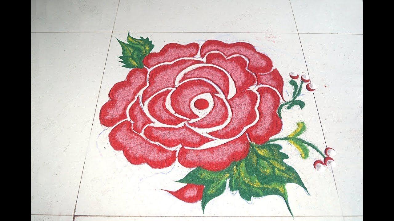 Rose Flower Rangoli Free Hand Rangoli Design Flower Rangoli Free Hand Rangoli Design Rangoli Designs
