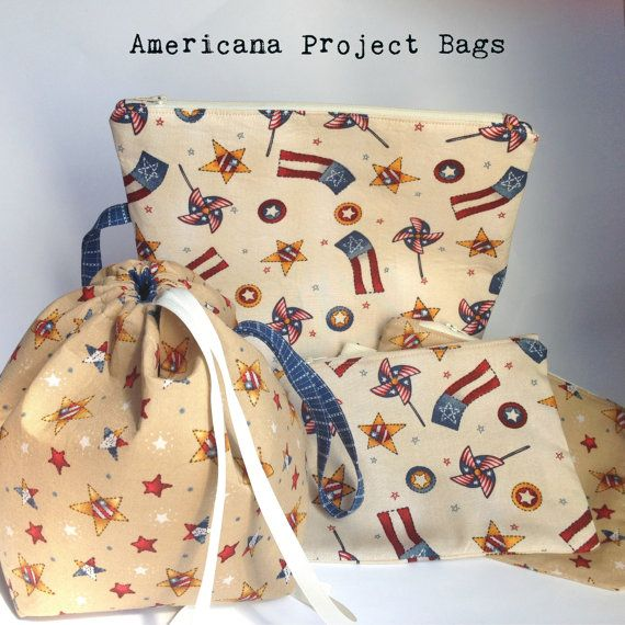 Americana Medium Zipper Drawstring Notion Project Bag Knit Crochet Embroidery Lunch Gift Travel Cosmetic Organize Supply Summer July 4th USA
