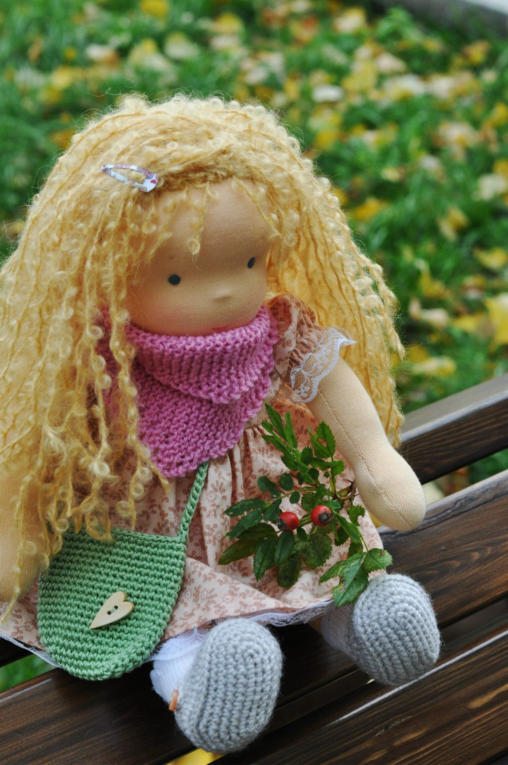 """Waldorf baby doll for kids Flora Easter gift 12""""6 (32 cm"""