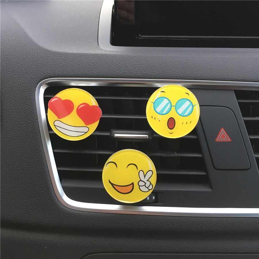 Lovely car air outlet with perfume smile face decoration