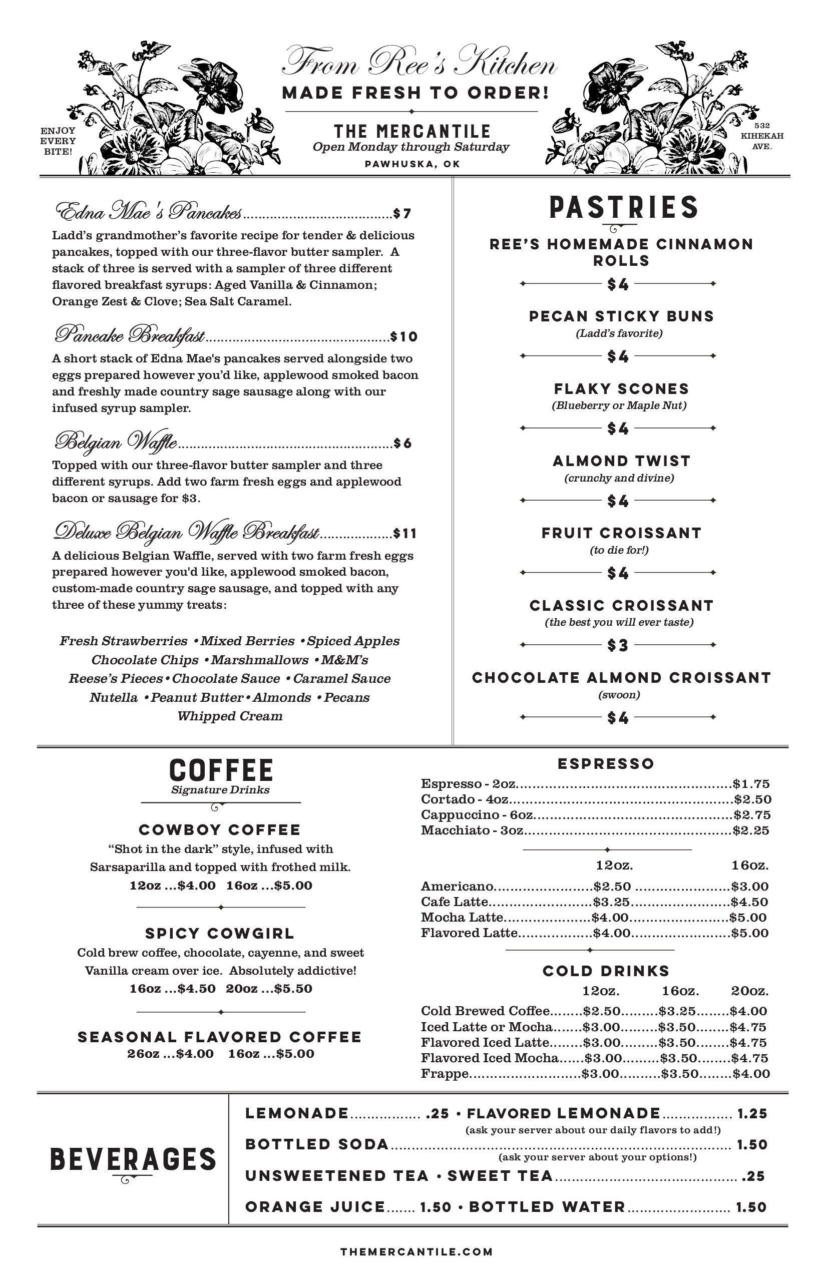 Pioneer Woman Mercantile Restaurant Menu Resturant Menu Menu Menu Restaurant