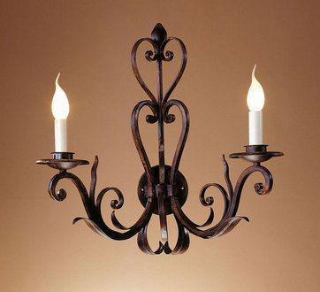 """Assisi"" two light wall lamp. Handamde in wrought iron by effebiweb.com"