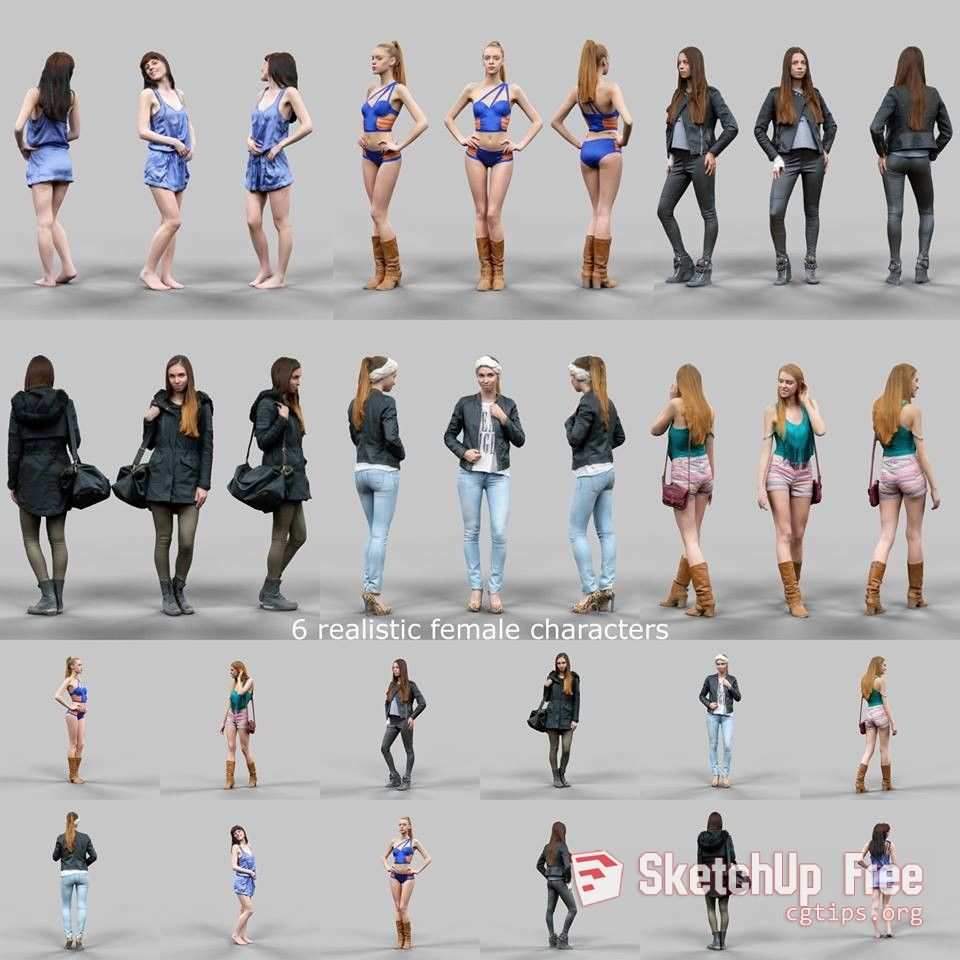 1196 Characters People 1 Sketchup Model Free Download