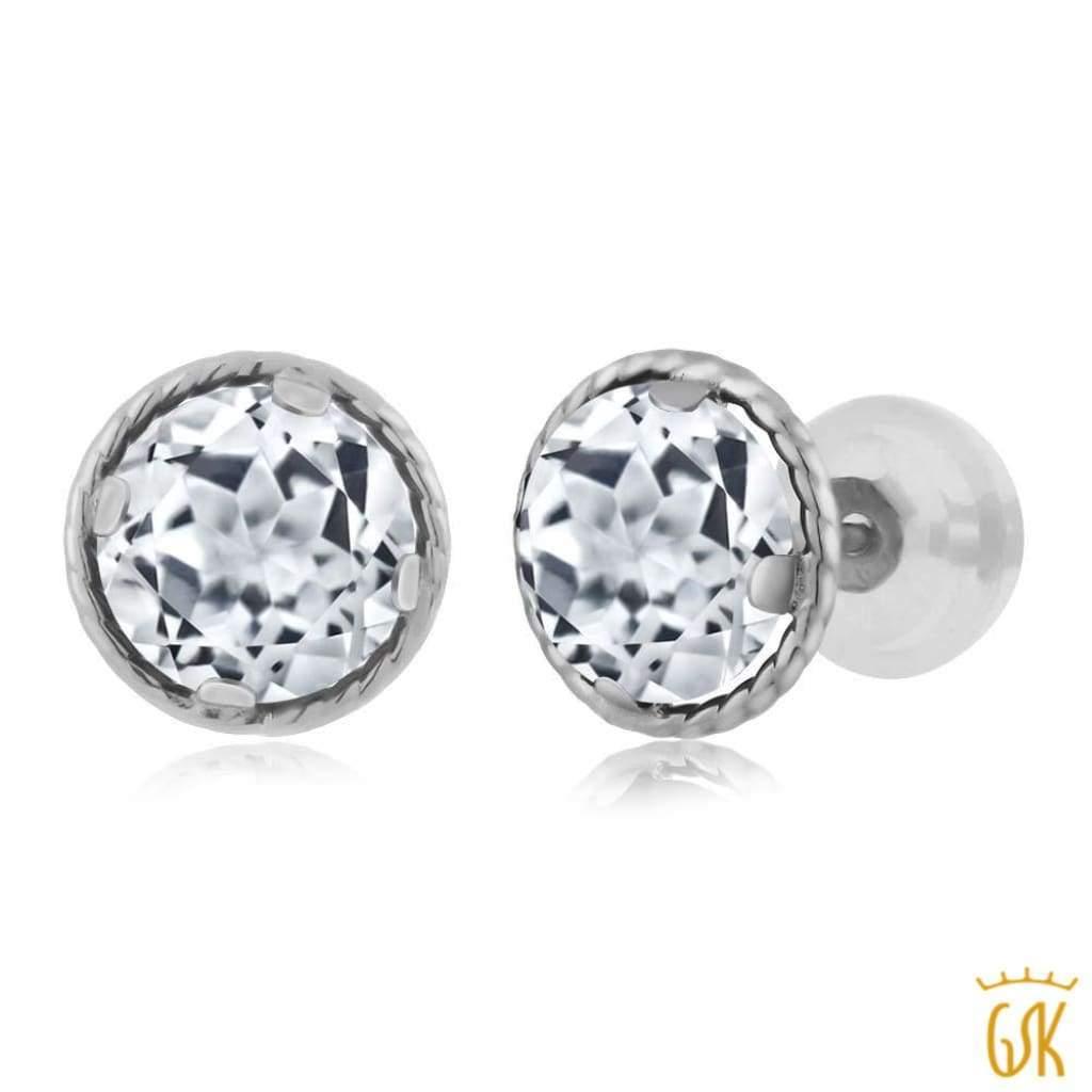 fcb35d9b04d5c 1.80 Ct Round 6MM White Topaz 14K White Gold Stud Earrings - Free ...