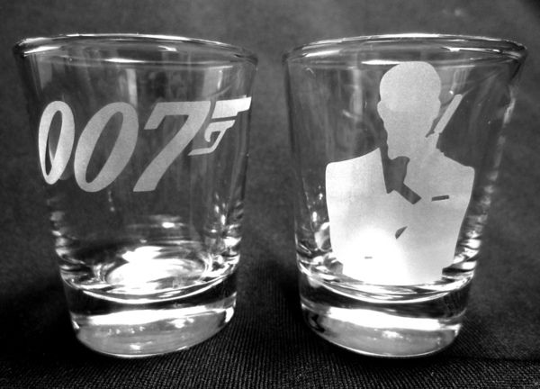 set of two etched shot glasses with the james bond