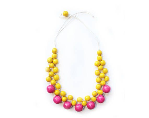 Yellow statement necklace colorblock jewelry short beaded form - statement form