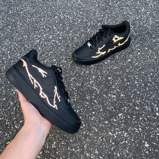 Nike AF1 Black Reflective Lightning THE CUSTOM