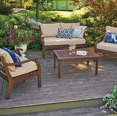 discount patio furniture sale 4 piece set all wood with cushions