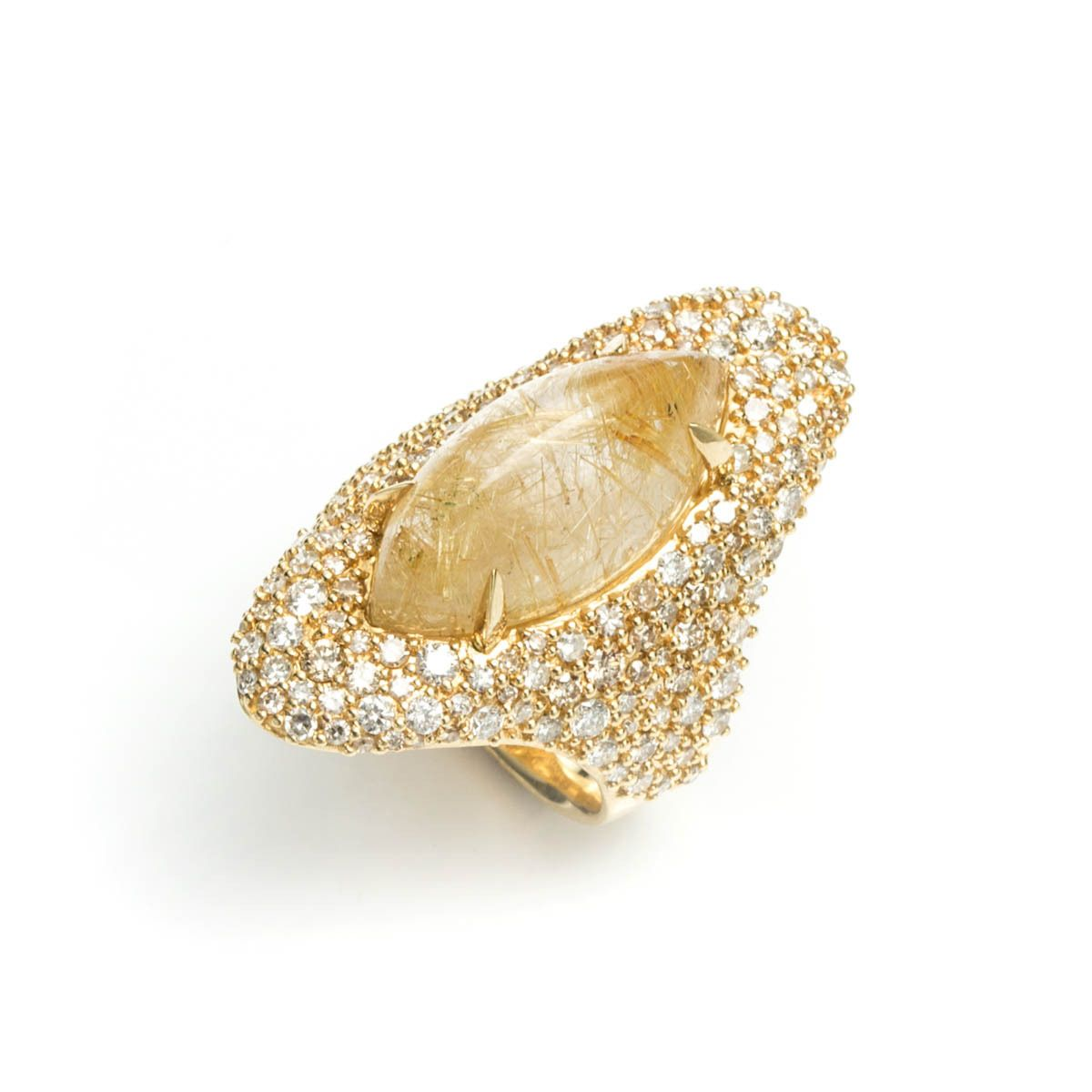 Honey Gold Marquis Drama Ring In 18k Gold (rutilated Quartz Marquies  Cabochon Surrounded By Glittering