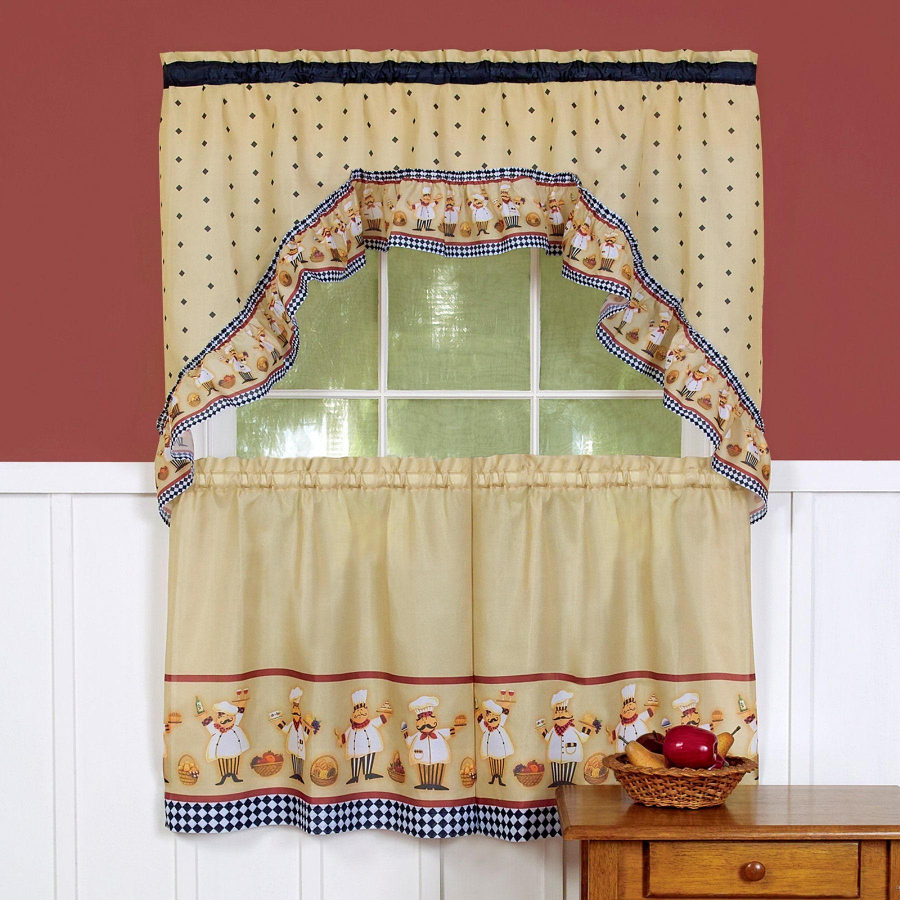 Achim Cucina Printed Tier Curtain And Swag Set Multi Kitchen