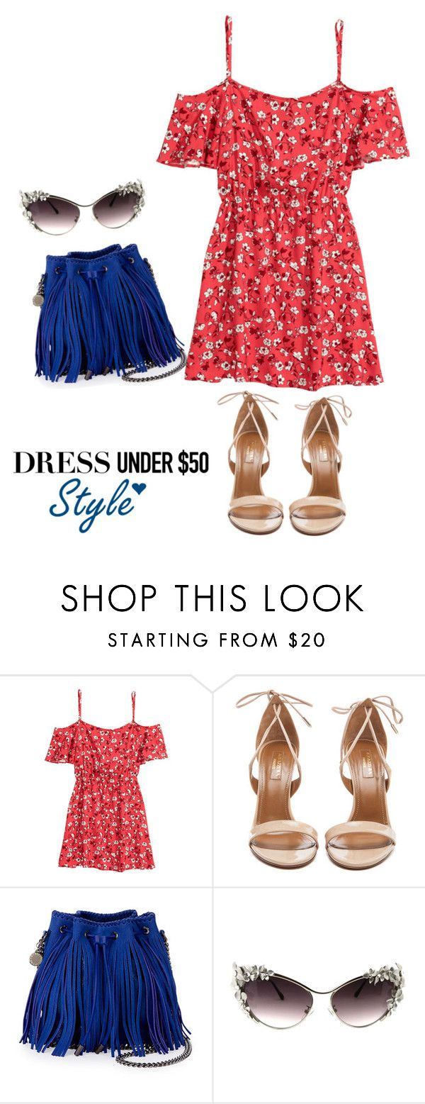 """""""Dress Under $50"""" by ade1-ccvii ❤ liked on Polyvore featuring H&M, Aquazzura, STELLA McCARTNEY and Dressunder50"""