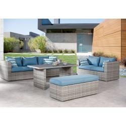 Photo of 4-tlg. Lounge-Gruppe Curacao warm-grey/blau