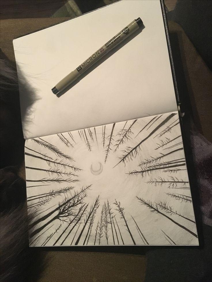 Art Sketches Tumblr - Waldperspektive mit Tusche und Graphit - drawing - #Art...