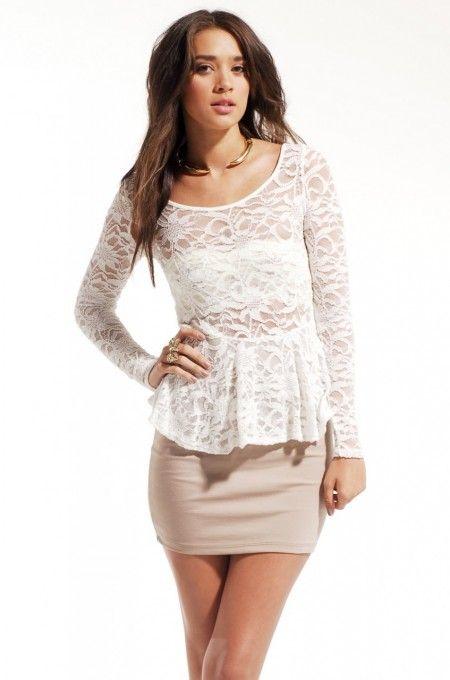 Long Sleeve Lace Peplum Dress