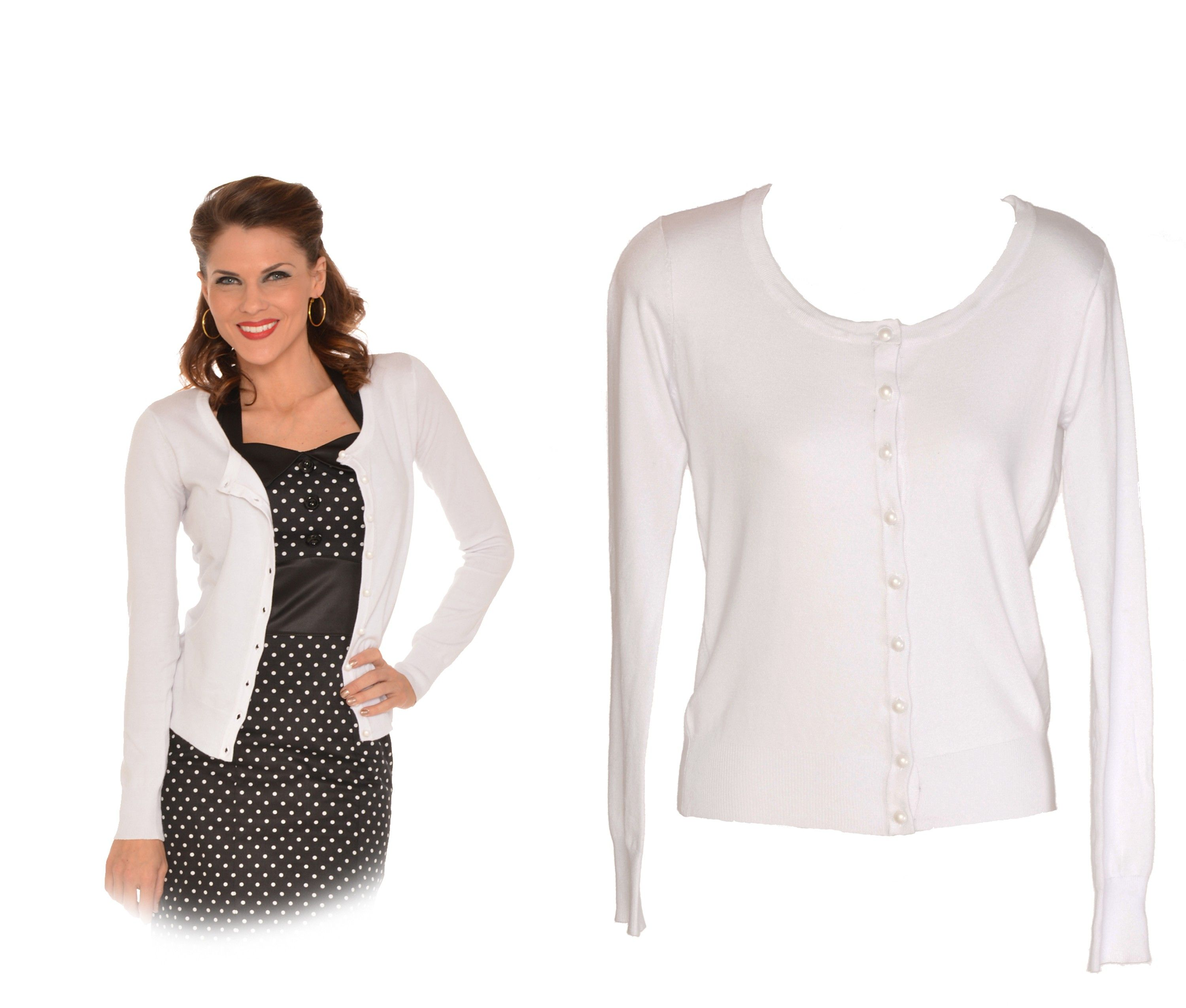 White Ladies 50's Vintage Style Sweater Cardigan Adult | wedding ...