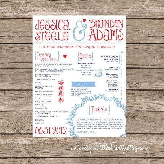 Vintage Flyer Wedding Program- DIY Printable - Lovely Little Party - wedding flyer