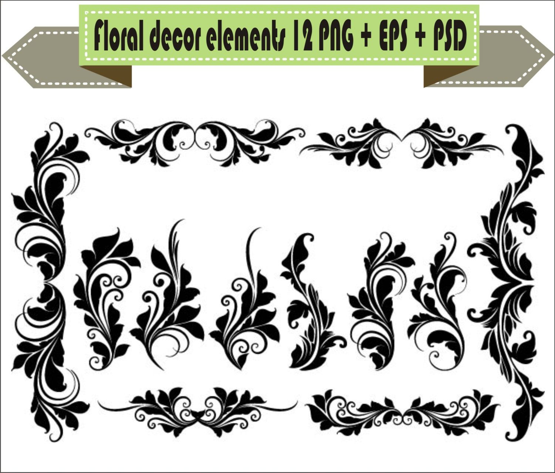 Vintage Decorative Floral Flowers Elements Decor Border Corner Retro Vector Clipart PNG EPS PSD Scrapbook Supplies Clip Art Instant Download