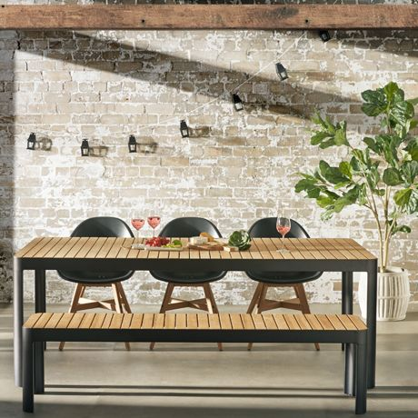 teak outdoor dining table and benches. outdoor dining on a sweet summers day. adelphi dining, teak benchtop table and bench seat. benches e