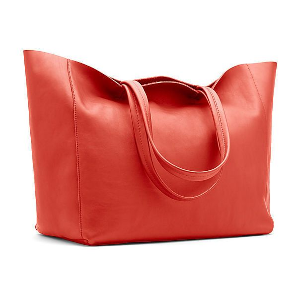 Leather Shopper Tote Dark Coral Totes (315 CAD) ❤ liked on ...