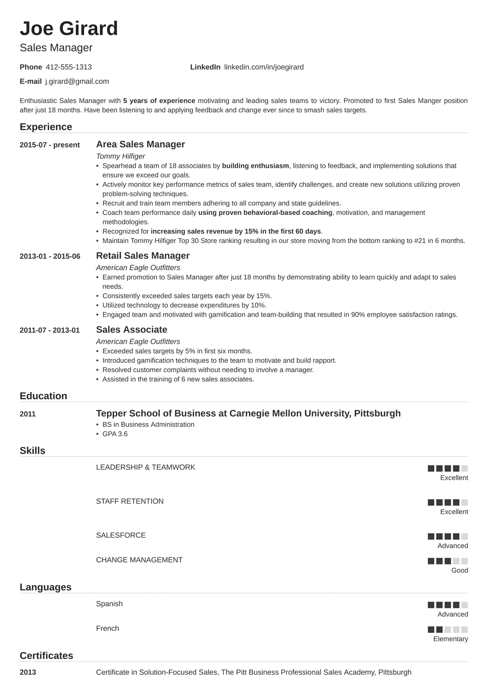 Sales Manager Resume Examples [Templates & Key Skills