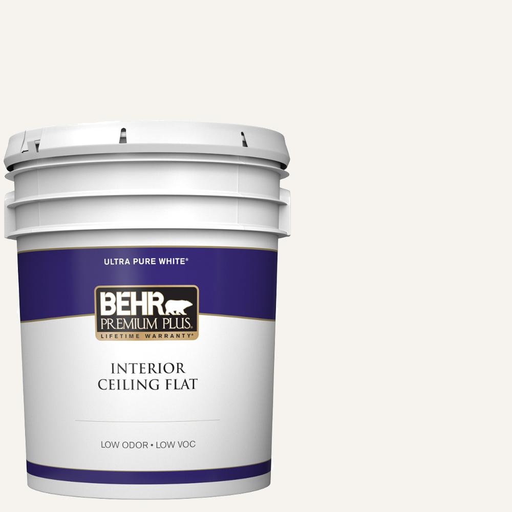 Behr Premium Plus 5 Gal Ultra Pure White Ceiling Flat Interior Paint 55805 The Home Depot In 2020 Exterior Paint Behr Premium Plus