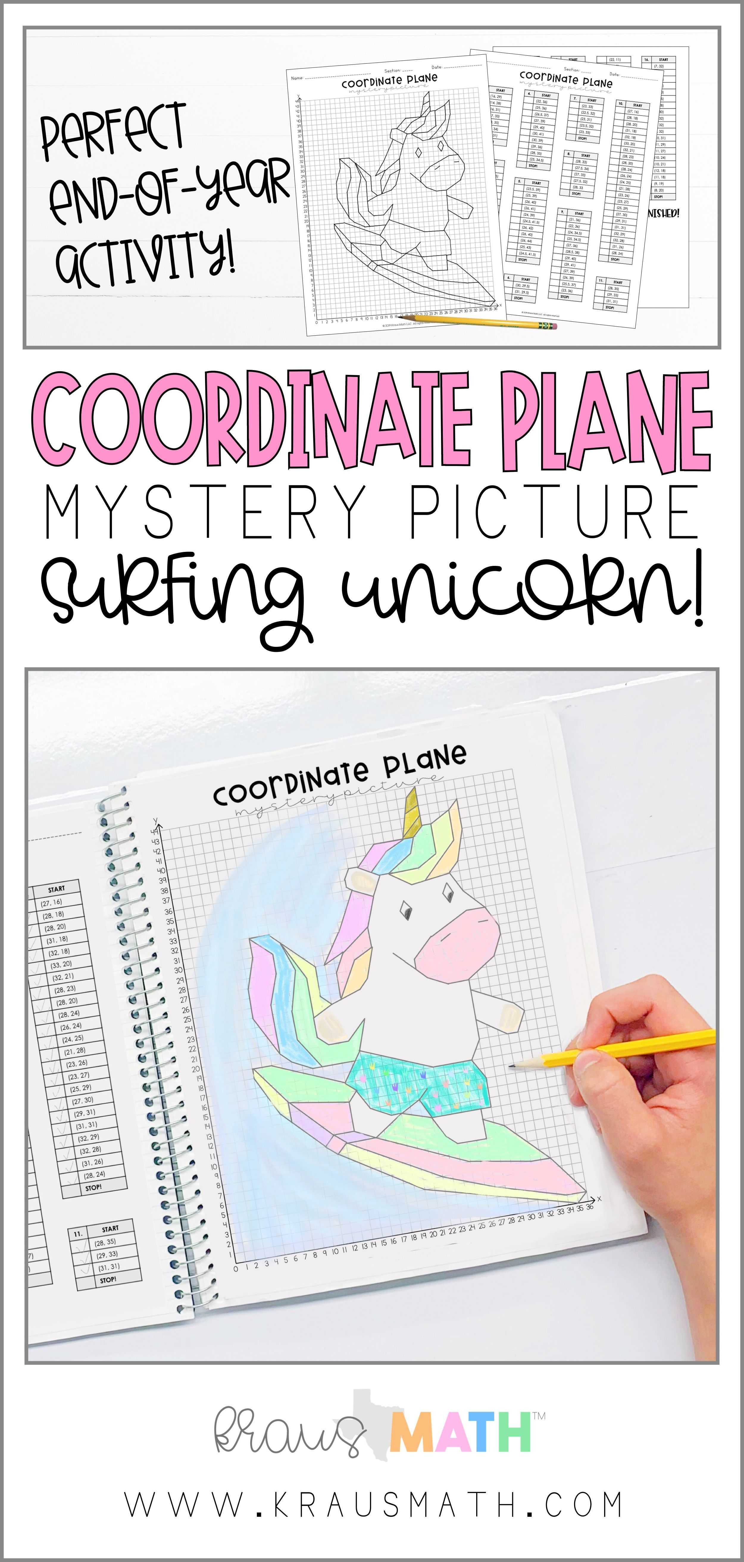 Coordinate Planes Mystery Picture 1st Quadrant Mystery Picture Surfing Unicorn Summer Theme This Is A Great Activ Fun Math Graphing Activities Activities [ 5250 x 2500 Pixel ]
