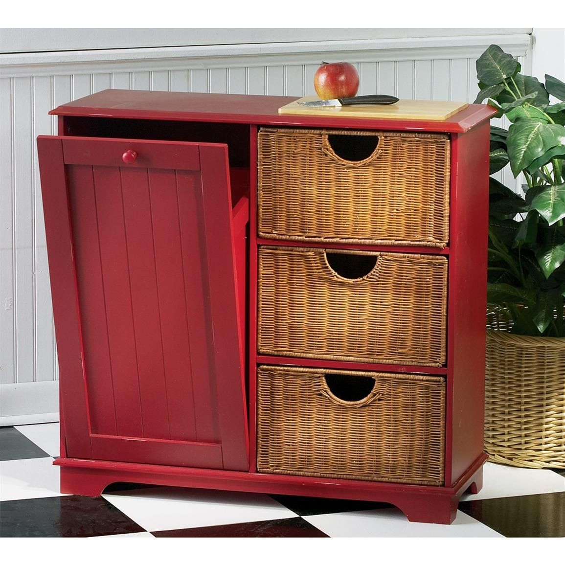 DIY Pull Out Trash Can In A Kitchen Cabinet (Amazing Idea)