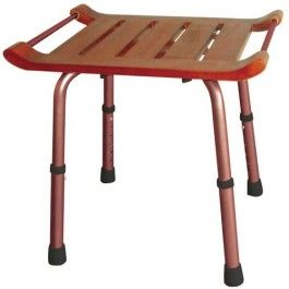 Knockdown Adjustable Height Teak Bath Stool | 1800wheelchair.com