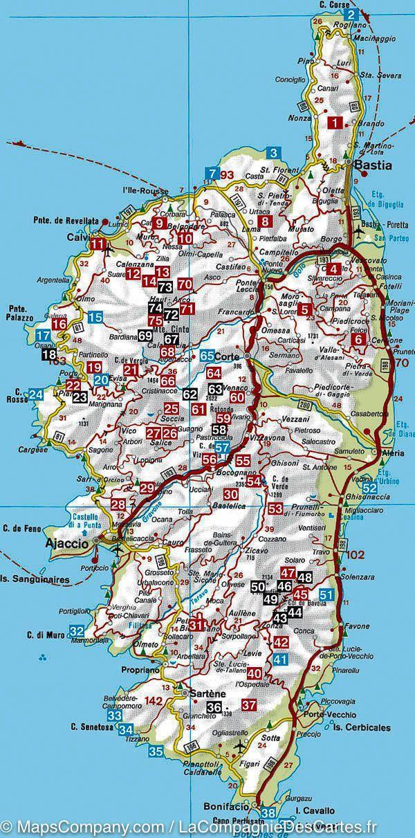 Carte Routiere Corse Du Sud : carte, routiere, corse, Cartes, Corse, Carte,, Vacances, Corse,