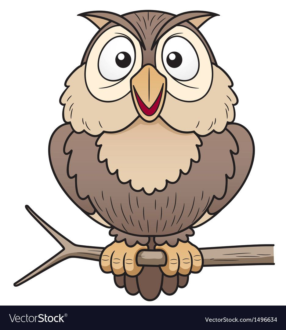 Vector Illustration Of Cartoon Owl Sitting On Tree Branch Download A Free Preview Or High Quality Adobe Illustrator Ai Ep Owls Drawing Owl Cartoon Owl Vector