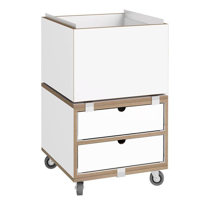 Rollcontainer weiß - stocubo Regalsystem, Würfelsystem, Würfel