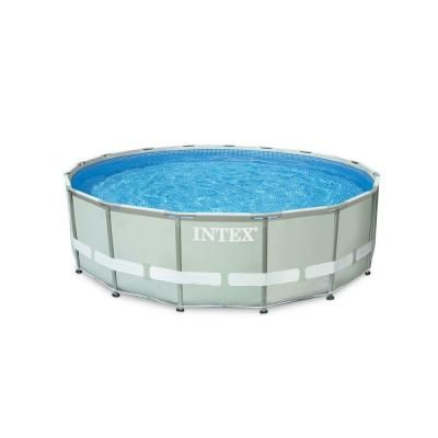 16 Ft X 48 In Ultra Frame Pool Set With 1200 Gal Filter Pump And Saltwater System 28325eg The Home Depot Above Ground Swimming Pools Above Ground Pool Intex