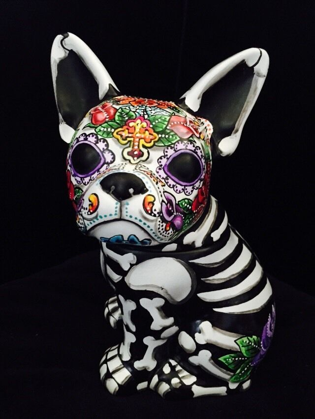 Day Of The Dead Painted Sugar Skull French Bull Dog Statue