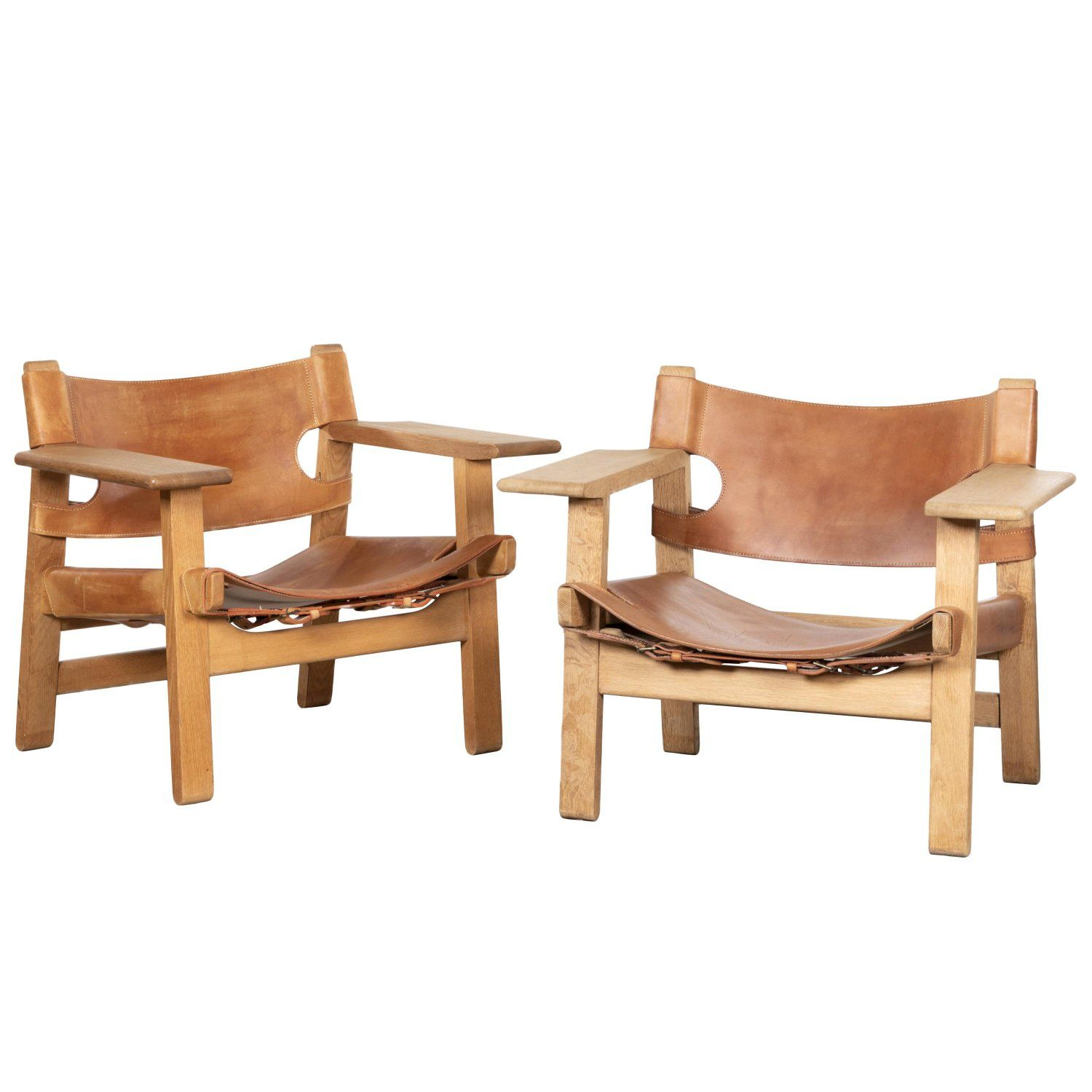 """Børge Mogensen """"Spanish"""" Chair in Cognac Leather and Oak"""