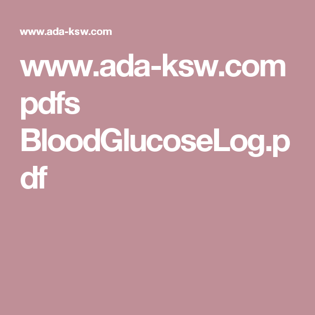 WwwAdaKswCom Pdfs BloodglucoselogPdf  Medical Forms