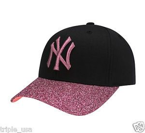 New Ny Yankees Adjustable Cap Mlb Korea Pink Glitter Raised Embroidery Black Hat Hats For Men Hats Cap