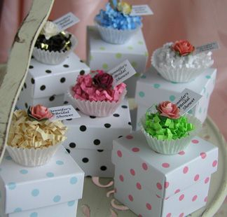 Polka dot box with cupcake toppers - bridal shower favor box