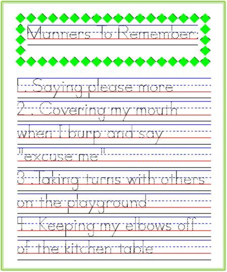 good manners to remember handwriting practice from startwrite improving handwriting. Black Bedroom Furniture Sets. Home Design Ideas