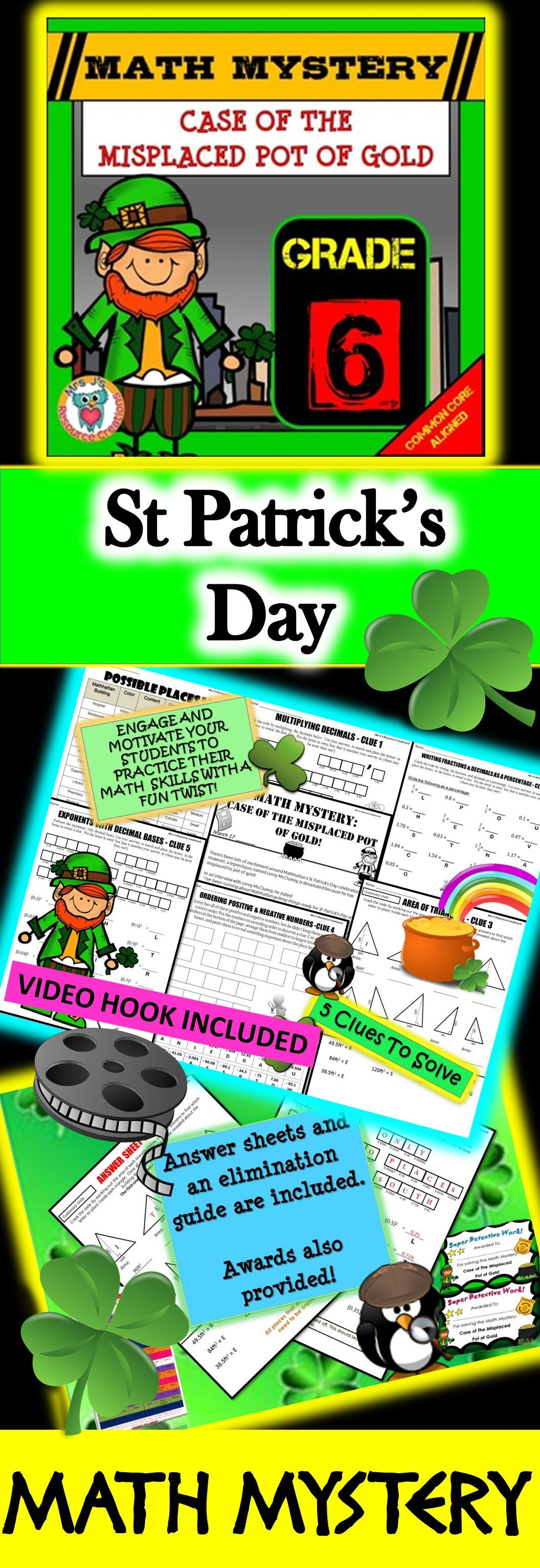 6th Grade St Patrick S Day Math Activity