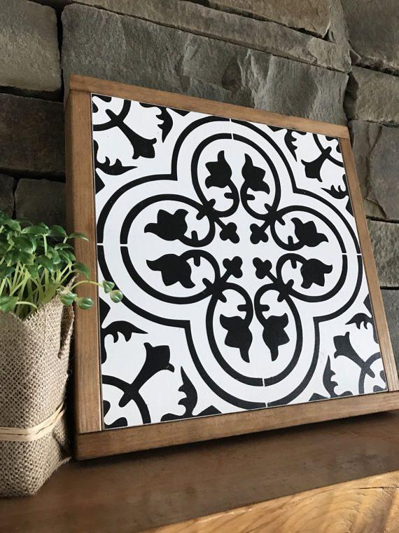 tile wall art wood home decor