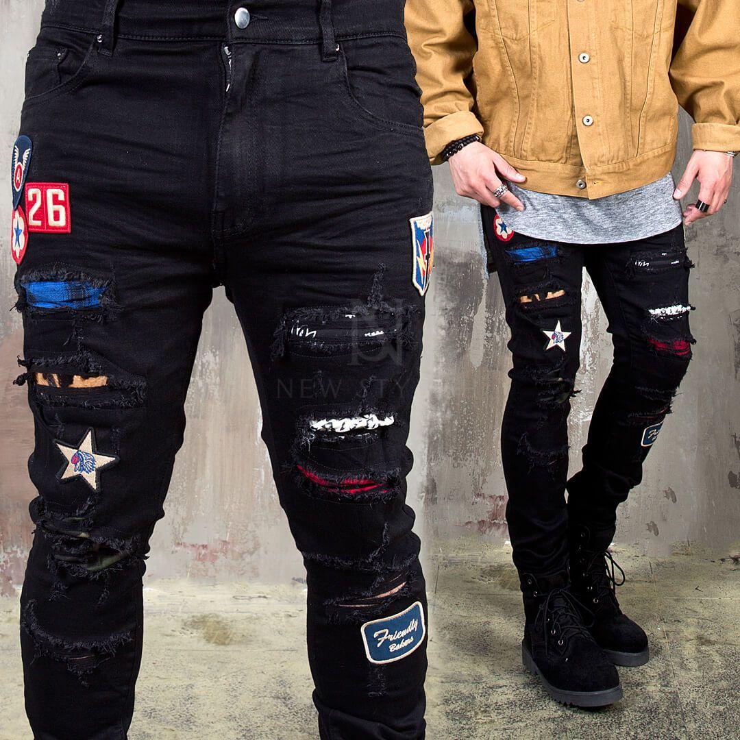 c968aeaba Multiple wappen accent damaged black slim jeans - 408 in 2019 ...