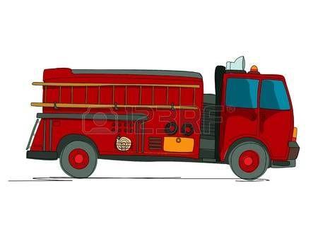 Camin de bomberos de dibujos animados sobre fondo blanco