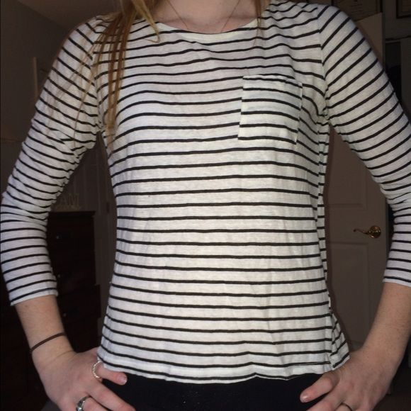 striped tee shirt 3/4 length sleeves, black and white stripped, boob pocket Forever 21 Tops Tees - Long Sleeve
