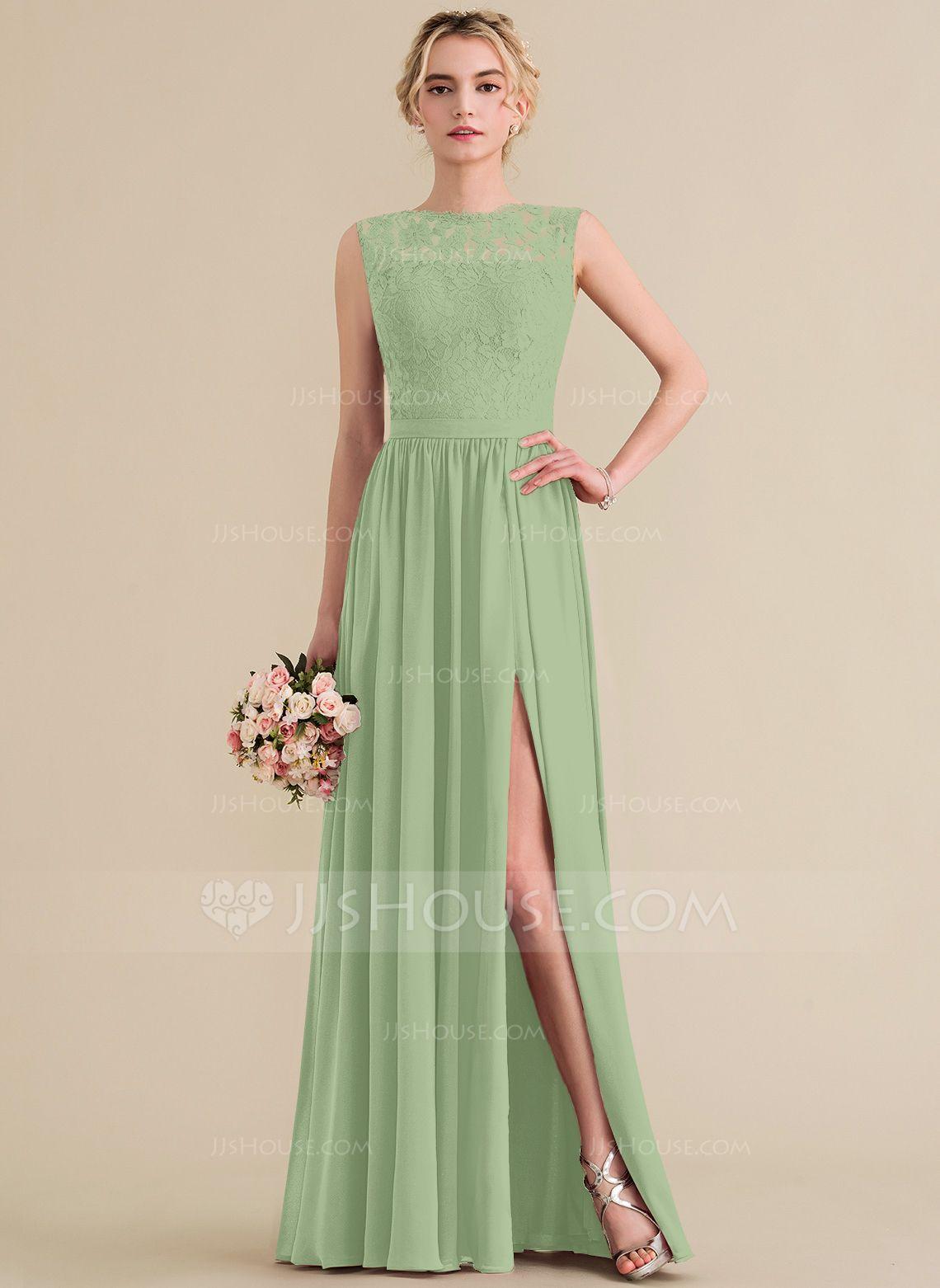21d93d1ab5 A-Line Princess Scoop Neck Floor-Length Chiffon Lace Bridesmaid Dress With  Split Front (007144746) - Bridesmaid Dresses - JJsHouse